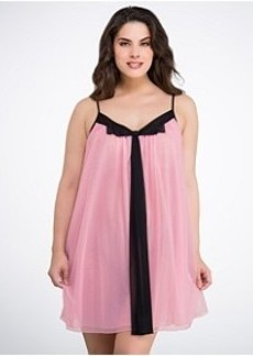 Betsey Johnson Double-Layer Tricot Chiffon Chemise Plus Size