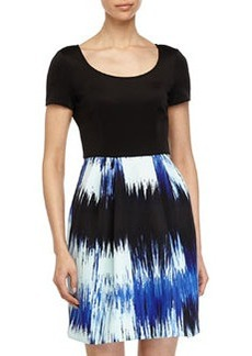 Betsey Johnson Dress w/ Floral-Print Skirt, Black/Blue