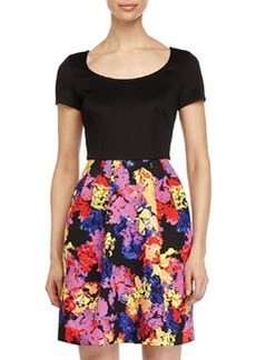 Betsey Johnson Dress w/ Floral-Print Skirt, Black/Red