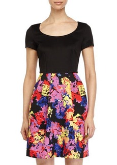 Betsey Johnson Dress w/ Floral-Print Skirt
