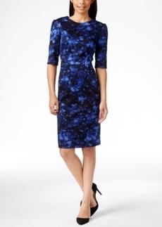 Betsey Johnson Elbow-Sleeve Floral-Print Sheath Midi Dress