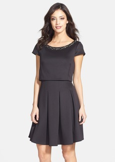 Betsey Johnson Embellished Pleated Scuba Popover Dress