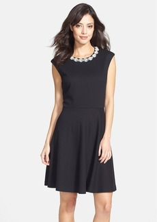 Betsey Johnson Embellished Textured Fit & Flare Dress