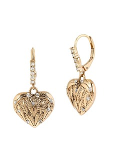 BETSEY JOHNSON Etched Heart Drop Earrings
