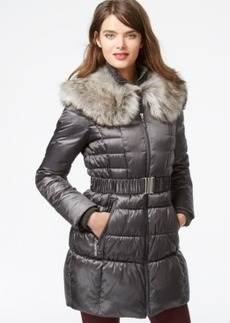 Betsey Johnson Faux-Fur-Collar Belted Puffer Coat