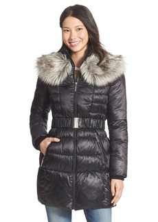 Betsey Johnson Faux Fur Collar Belted Quilted Coat