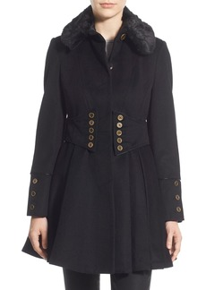 Betsey Johnson Faux Fur Collar Skirted Wool Blend Coat