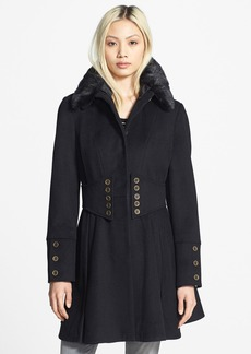 Betsey Johnson Faux Fur Collar Skirted Wool Blend Coat (Online Only)