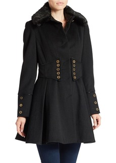 BETSEY JOHNSON Faux Fur-Collared Button-Waist Coat