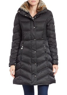 BETSEY JOHNSON Faux Fur-Collared Puffer Coat