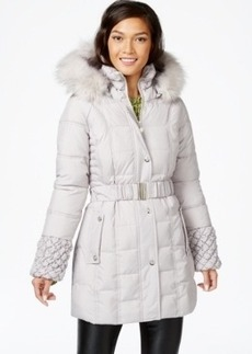 Betsey Johnson Faux-Fur-Hood Belted Puffer Coat