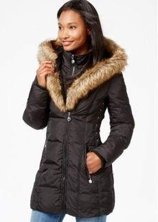 Betsey Johnson Faux-Fur-Hood Quilted Puffer Coat