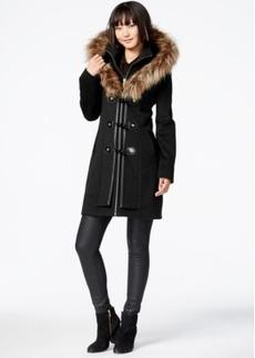 Betsey Johnson Faux-Fur-Hood Wool-Blend Coat