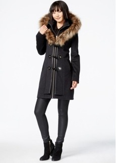 Betsey Johnson Faux-Fur-Hood Wool-Blend Coat