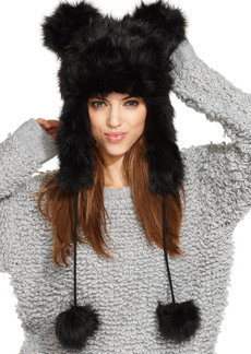 Betsey Johnson Faux Fur Trapper Hat with Ears
