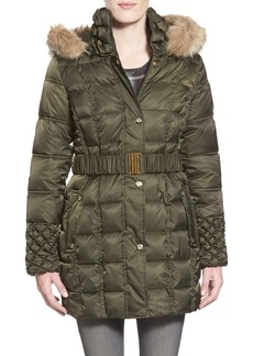 Betsey Johnson Faux Fur Trim Belted Puffer Coat
