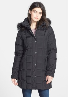 Betsey Johnson Faux Fur Trim Hooded Quilted Walking Coat