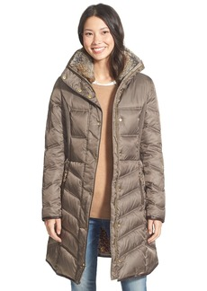 Betsey Johnson Faux Fur Trim Three Quarter Length Puffer Coat
