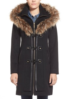 Betsey Johnson Faux Fur Trim Toggle Closure Duffle Coat