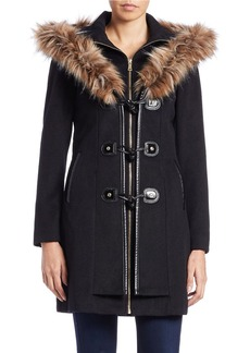 BETSEY JOHNSON Faux Fur-Trimmed Toggle Coat