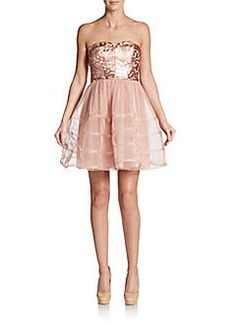 Betsey Johnson Faux Leather Lace & Chiffon Dress