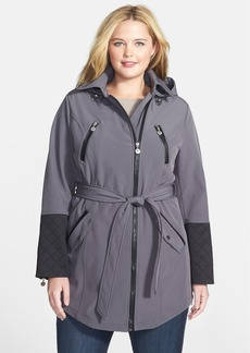 Betsey Johnson Faux Leather Trim Soft Shell Jacket with Removable Hood (Plus Size) (Online Only)