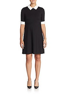 Betsey Johnson Faux Pearl-Collar Fit-And-Flare Dress