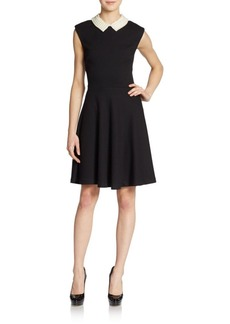 Betsey Johnson Faux Pearl-Collar Flared Dress