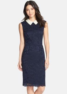 Betsey Johnson Faux Pearl Collar Lace Sheath Dress