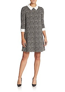 Betsey Johnson Faux Pearl-Collar Printed Dress