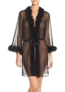 Betsey Johnson Feather Accent Sheer Short Robe