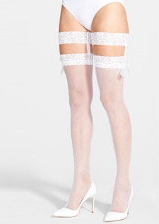 Betsey Johnson Fishnet Thigh High Tights with  Lace Garters