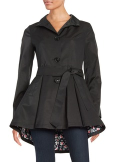 BETSEY JOHNSON Fit and Flare Belted Trench Coat