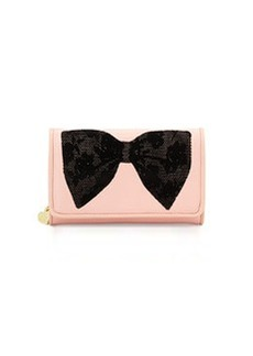 Betsey Johnson Flock-A-Bows Wallet-on-Chain, Blush