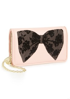 Betsey Johnson 'Flocked Bows' Crossbody Wallet on a Chain