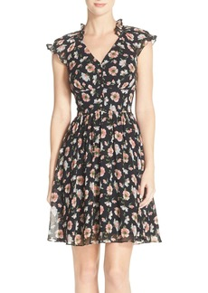 Betsey Johnson Floral Chiffon Fit & Flare Dress
