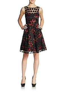 Betsey Johnson Floral Dot Illusion Cocktail Dress