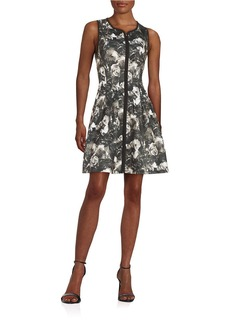 BETSEY JOHNSON Floral Fit-and-Flare Dress