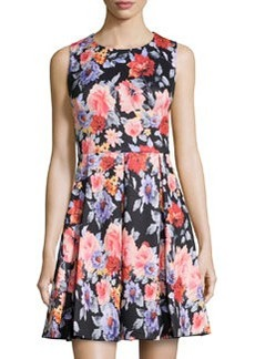 Betsey Johnson Floral Fit-and-Flare Sleeveless Dress, Black/Multi
