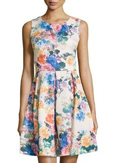 Betsey Johnson Floral Fit-and-Flare Sleeveless Dress, Natural/Multi