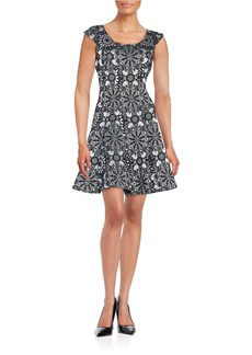 BETSEY JOHNSON Floral Jacquard Fit-and-Flare Dress