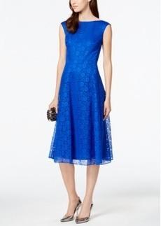 Betsey Johnson Floral-Lace Tea-Length Dress