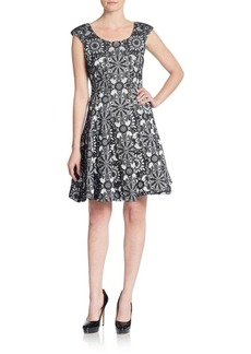 Betsey Johnson Floral Medallion-Print Fit-&-Flare Dress