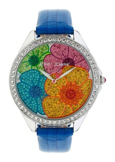 Betsey Johnson Floral Pavé Dial Leather Strap Watch, 48mm
