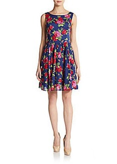 Betsey Johnson Floral-Print Boatneck Dress