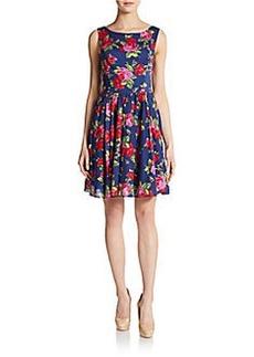 Betsey Johnson Floral-Print Boatneck Dress