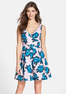 Betsey Johnson Floral Print Bow Back Fit & Flare Dress