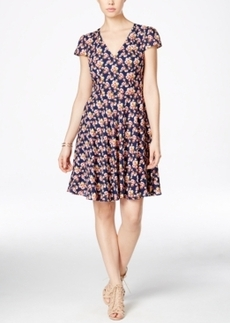Betsey Johnson Floral-Print Cap-Sleeve Fit & Flare Dress
