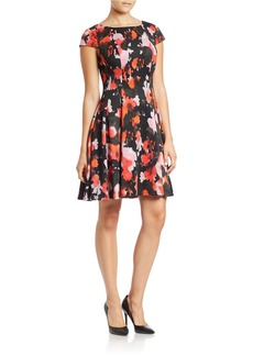 BETSEY JOHNSON Floral-Print Cap-Sleeve Fit-and-Flare Dress