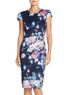 Betsey Johnson Floral Print Cap Sleeve Sheath Dress
